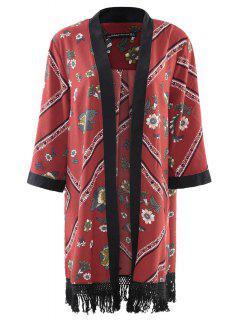 Floral Chiffon Long Sleeve Kimono - Red L