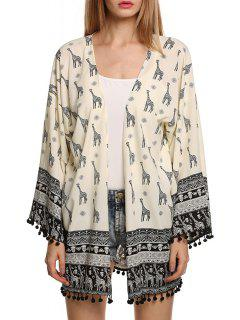 Giraffe Print Long Sleeve Kimono - White And Black L