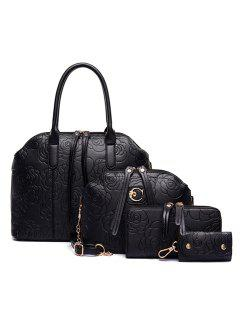 Elegant Embossing And Flowers Design Women's Tote Bag - Black