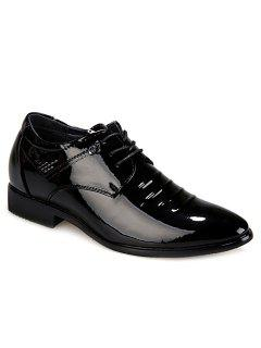 Moda Negro Y Lace-Up Design Hombres Zapatos Formal - Negro 39