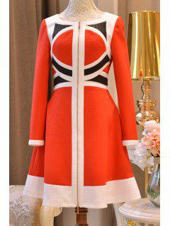 Color Block High Waisted Dress - Red S