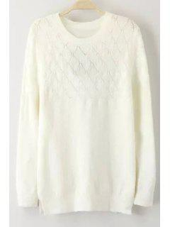 Openwork White Round Collar Long Sleeves Pullover Sweater - White L
