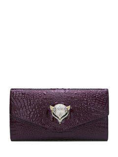 Rhinestones Crocodile Print Fox Clutch Bag - Purple