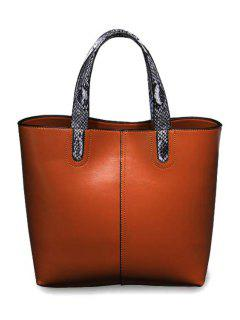 Snake Print PU Leather Zipper Tote Bag - Brown