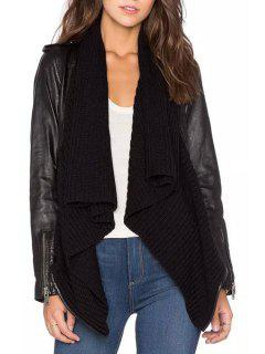 PU Leather Spliced Long Sleeves Asymmetric Cape Jacket - Black L