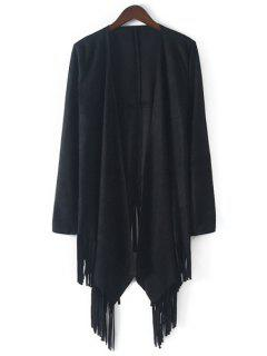 Open Front Tassels Suede Coat - Black L
