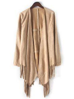 Open Front Tassels Suede Coat - Khaki L