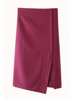 Solid Color Straight Side Slit Skirt - Wine Red Xl