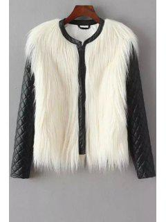 PU Leather Spliced Faux Fur Jacket - White And Black Xl