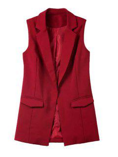 Pure Color Lapel Collar Pocket Waistcoat - Wine Red M