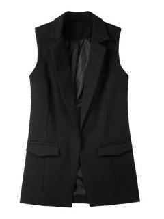 Pure Color Lapel Collar Pocket Waistcoat - Black M