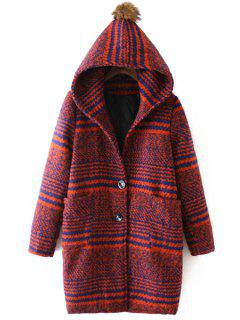 Hooded Striped Two Pockets Wool Coat - Orange Red L