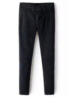 Solid Color Pencil Jeans - Black L