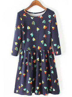 3/4 Sleeve Heart Print Dress - Blue M