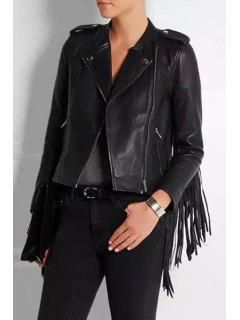 Zip Pocket Fringed PU Leather Jacket - Black L