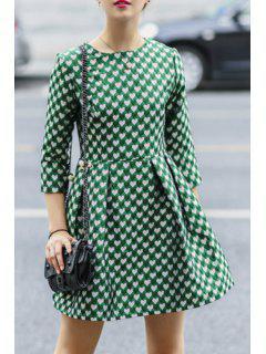 3/4 Sleeve Full Heart Pattern Dress - Green M