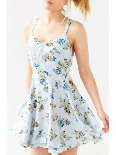 Flower Print Cami A Line Dress - Blue M