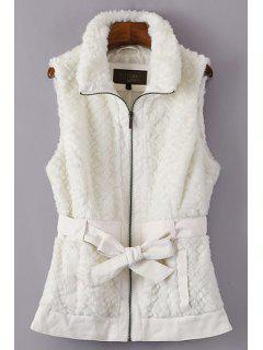 Self-Tie Belt Faux Fur Waistcoat - Off-white M
