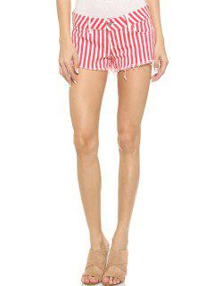Red Striped Straight Leg Shorts - Red With White 2xl