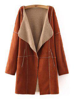 Open Front Fleece Lining Suede Coat - Brown S