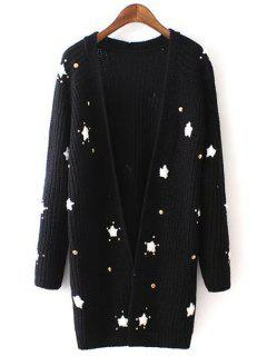 Long Sleeve Star Pattern Long Cardigan - Black