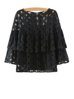 Hollow Solid Color Long Sleeve Blouse - Black M