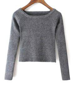 Pure Color Scoop Neck Long Sleeve Jumper - Gray S