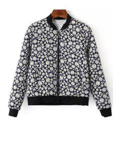 Tiny Floral Print Baseball Jacket - Blue S
