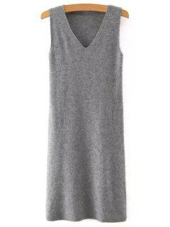 Solid Color V Neck Sleeveless Sweater Dress - Gray M