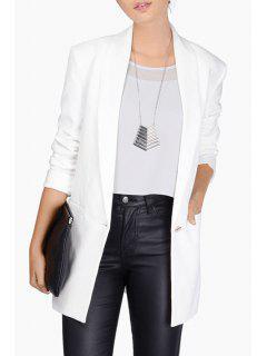 Shawl Neck One Button Blazer - White S