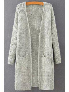 Solid Color Long Sleeve Long Cardigan - Light Gray M