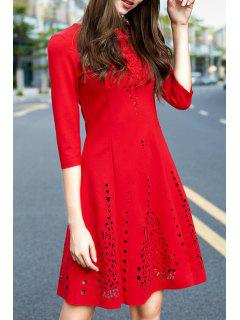 Hollow A Line Round Neck 3/4 Sleeve Dress - Red L