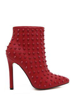 Rivets Zipper Pointed Toe High Heel Boots - Red 38
