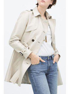 Turn Down Collar Double-Breasted Trench Coat - Off-white Xl