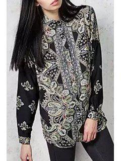 Long Sleeve Printed Shirt - Black L