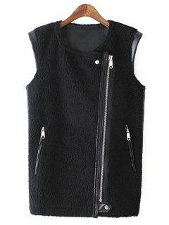 PU Leather Round Collar Black Zipper Waistcoat - Black M