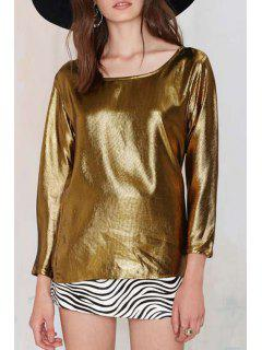 Golden Scoop Neck Long Sleeve T-Shirt - Golden Xl