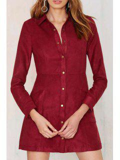 Long Sleeve Single-Breasted Shirt Dress - Red M