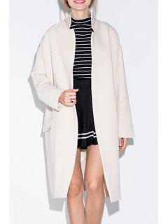 Open Front Pocket Design Ivory Coat - Milk White 2xl