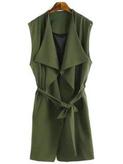 Solid Color Turn-Down Collar Waisted Waistcoat - Green S