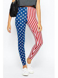 American Flag Print High Low Leggings - Blue And Red Xl