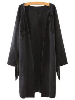 Solid Color Collarless Long Sleeves Faux Suede Cardigan - Black M