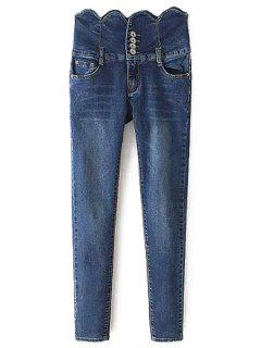 High Waisted Wave Edge Button Women's Jeans - Blue S
