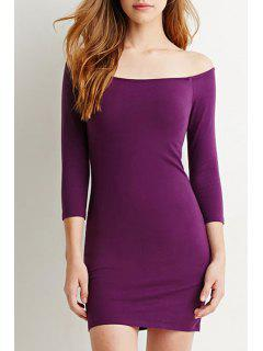 Pure Color Slash Neck 3/4 Sleeve Bodycon Dress - Purple M