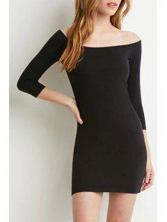 Pure Color Slash Neck 3/4 Sleeve Bodycon Dress - Black M