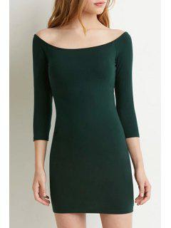 Pure Color Slash Neck 3/4 Sleeve Bodycon Dress - Blackish Green Xl