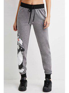 Cartoon Cat Pattern Narrow Feet Pants - Gray Xl