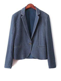 Blue Denim Lapel Long Sleeve Blazer - Blue L