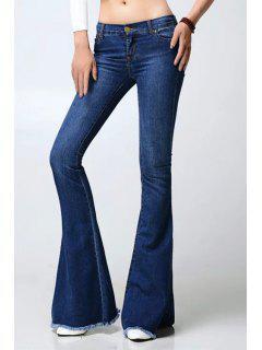 Frayed Dark Blue Flare Jeans - Deep Blue M