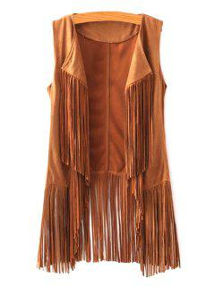 Trendy Open Front Tassels Spliced Women's Suede Waistcoat - Yellow S